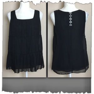 Laundry by Shelli Segal Black Tiered Tank Top